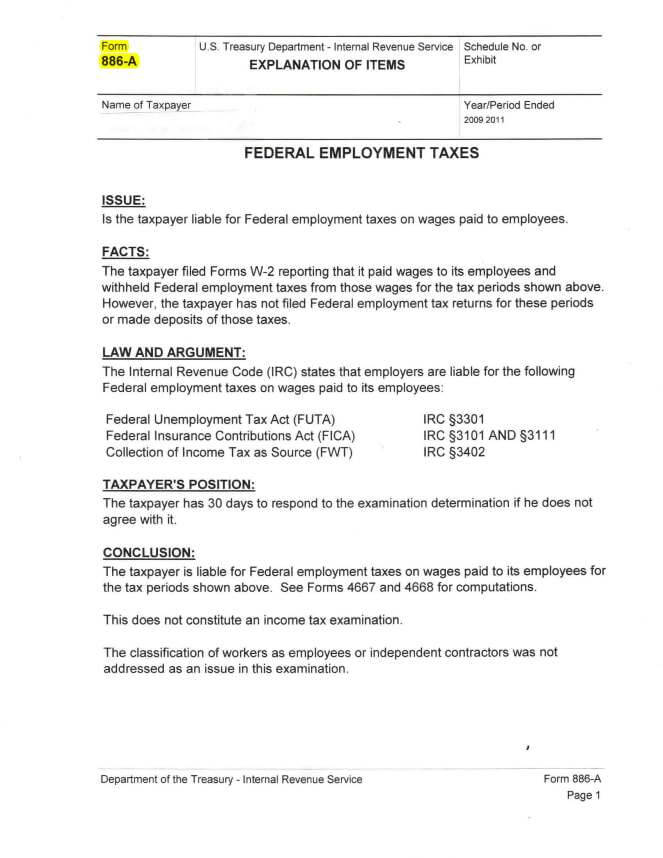 audit form 886a tax lawyer answer response to irs