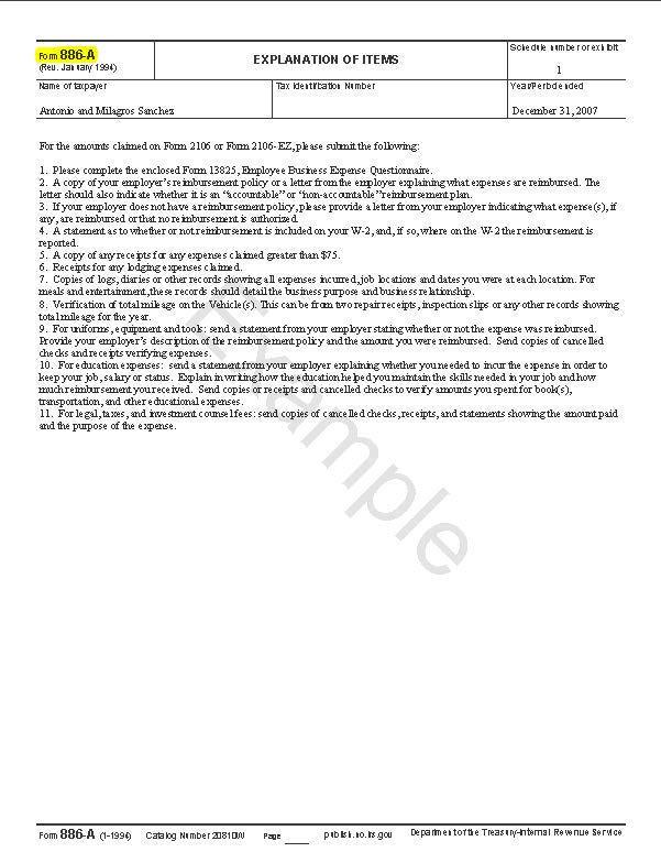 Audit Form 886-A
